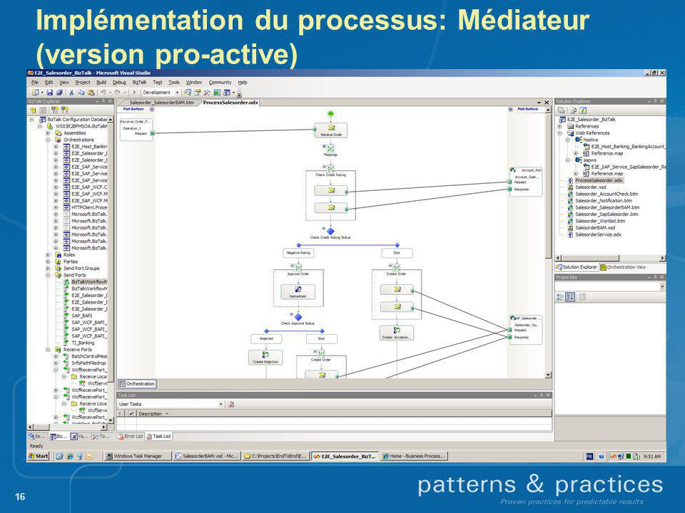 Implémentation du processus: Médiateur (version pro-active) 16