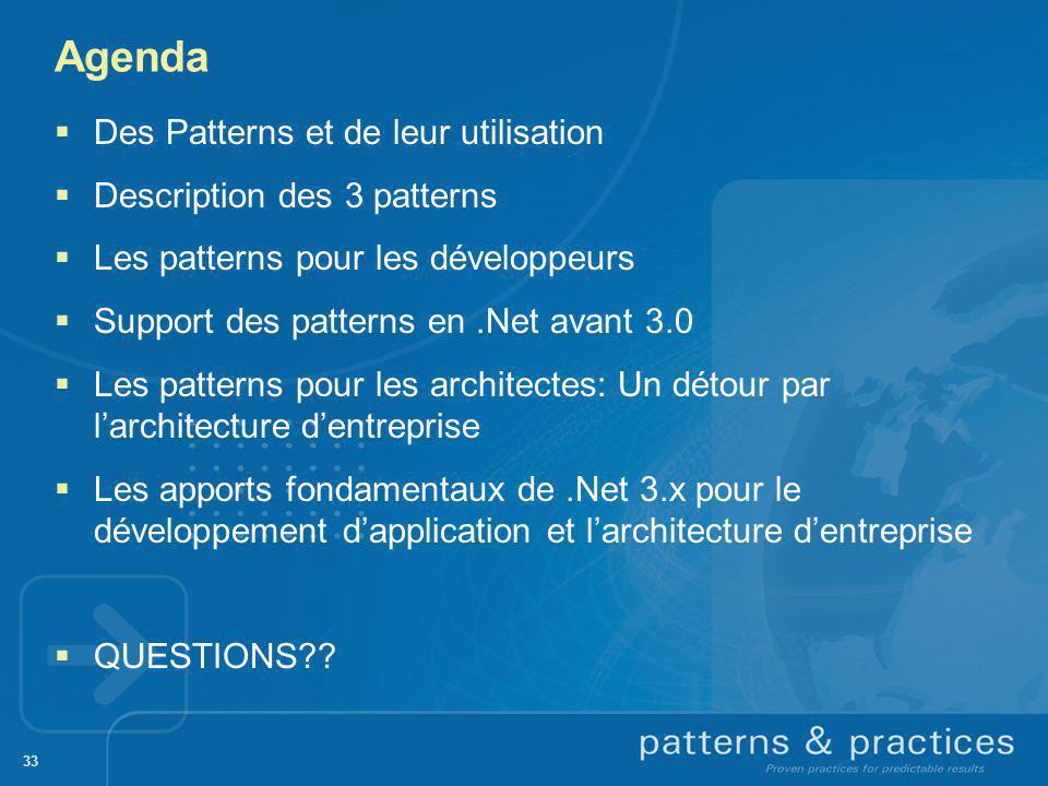 Agenda 33 Des Patterns et de leur utilisation Description des 3 patterns Les patterns pour les développeurs Support des patterns en.Net avant 3.0 Les