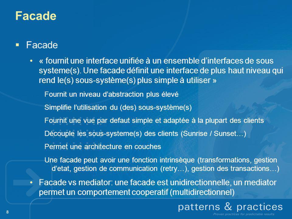 8 Facade « fournit une interface unifiée à un ensemble dinterfaces de sous systeme(s). Une facade définit une interface de plus haut niveau qui rend l