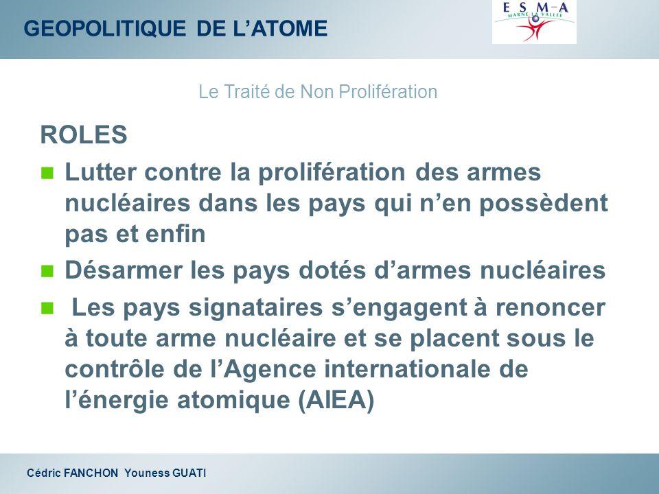 GEOPOLITIQUE DE LATOME Cédric FANCHON Youness GUATI ROLES Lutter contre la prolifération des armes nucléaires dans les pays qui nen possèdent pas et e