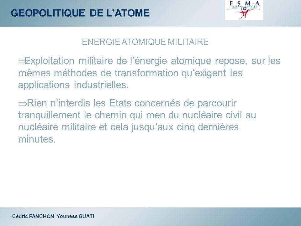GEOPOLITIQUE DE LATOME Cédric FANCHON Youness GUATI ENERGIE ATOMIQUE MILITAIRE Exploitation militaire de lénergie atomique repose, sur les mêmes métho