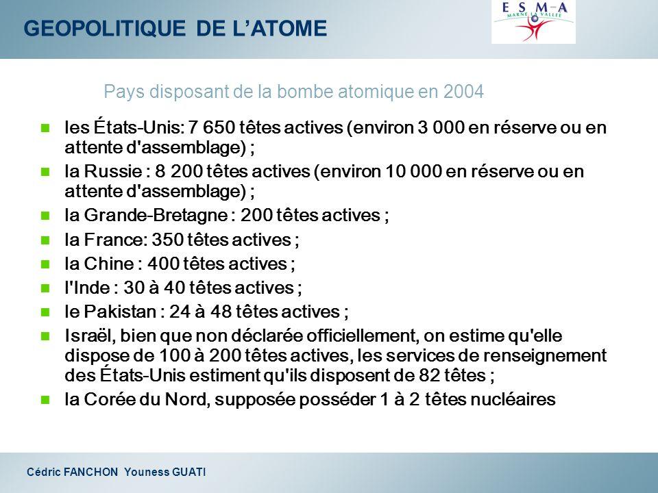 GEOPOLITIQUE DE LATOME Cédric FANCHON Youness GUATI les États-Unis: 7 650 têtes actives (environ 3 000 en réserve ou en attente d'assemblage) ; la Rus