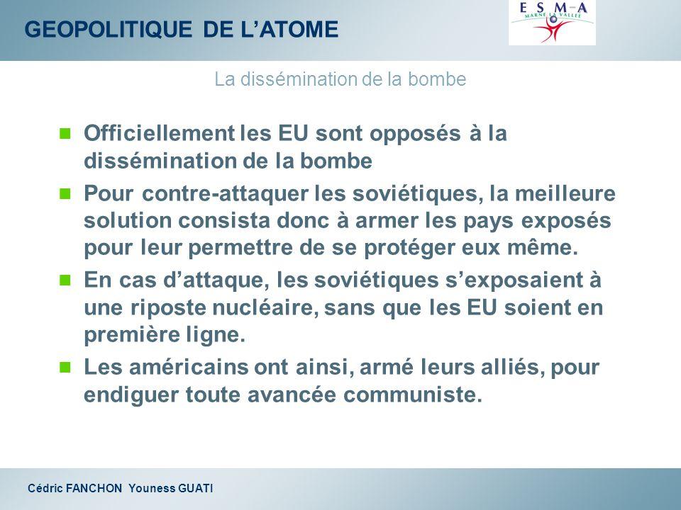 GEOPOLITIQUE DE LATOME Cédric FANCHON Youness GUATI La dissémination de la bombe Officiellement les EU sont opposés à la dissémination de la bombe Pou