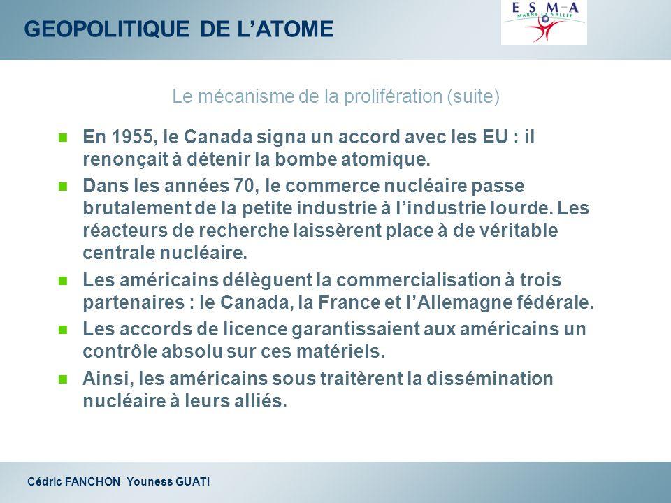 GEOPOLITIQUE DE LATOME Cédric FANCHON Youness GUATI Le mécanisme de la prolifération (suite) En 1955, le Canada signa un accord avec les EU : il renon