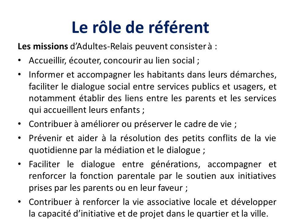 Le rôle de référent Les missions dAdultes-Relais peuvent consister à : Accueillir, écouter, concourir au lien social ; Informer et accompagner les hab