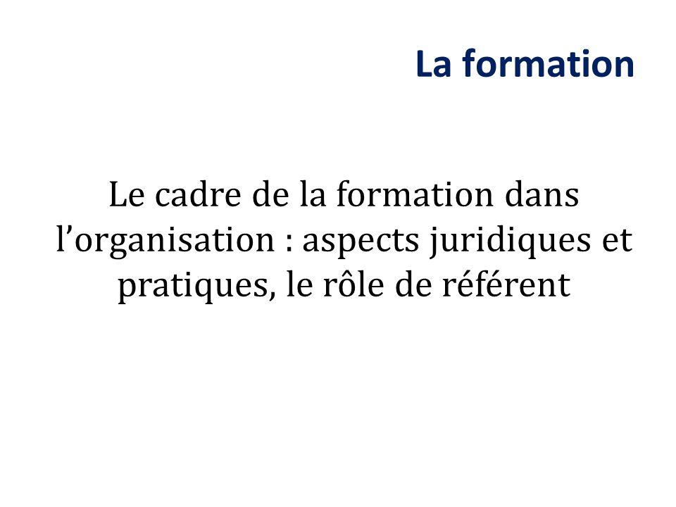 Le cadre de la formation dans lorganisation : aspects juridiques et pratiques, le rôle de référent