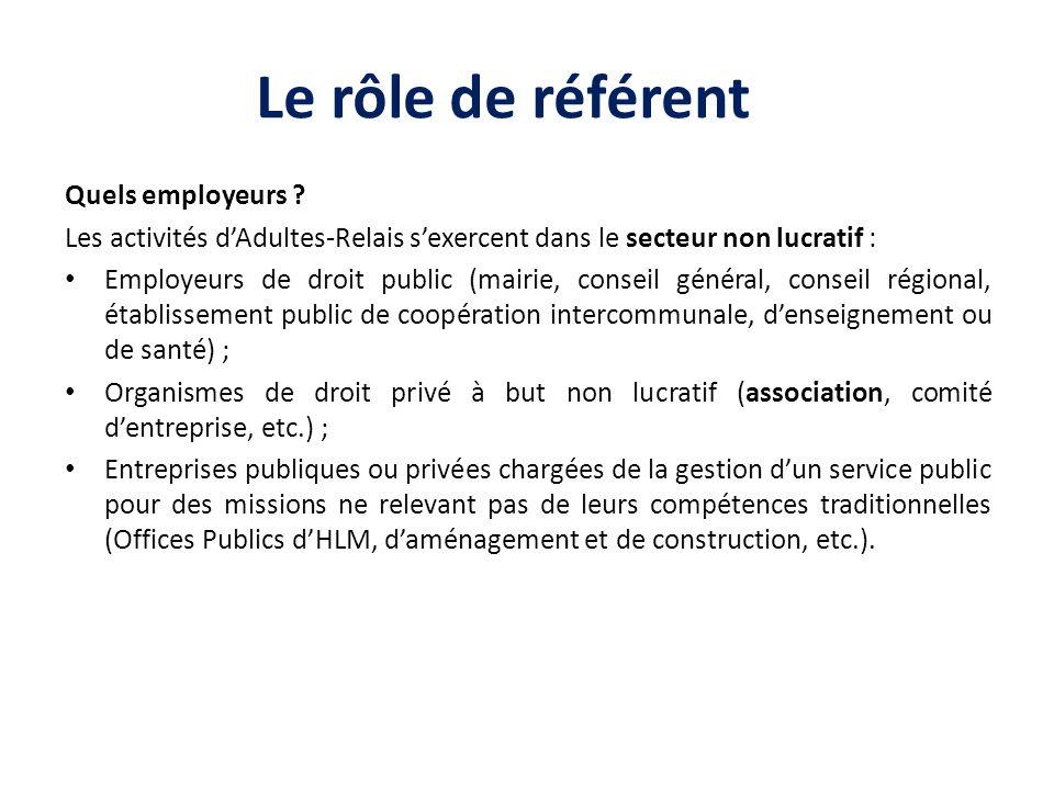 Le rôle de référent Quels employeurs ? Les activités dAdultes-Relais sexercent dans le secteur non lucratif : Employeurs de droit public (mairie, cons