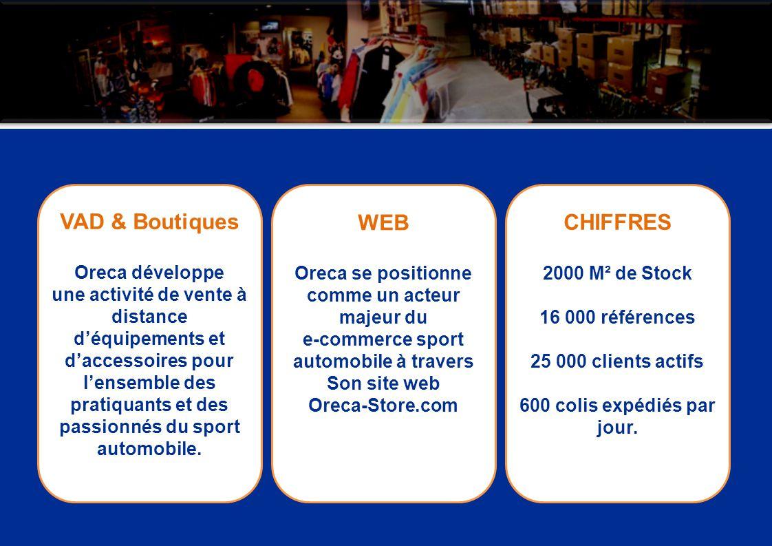 VAD & Boutiques Oreca développe une activité de vente à distance déquipements et daccessoires pour lensemble des pratiquants et des passionnés du spor