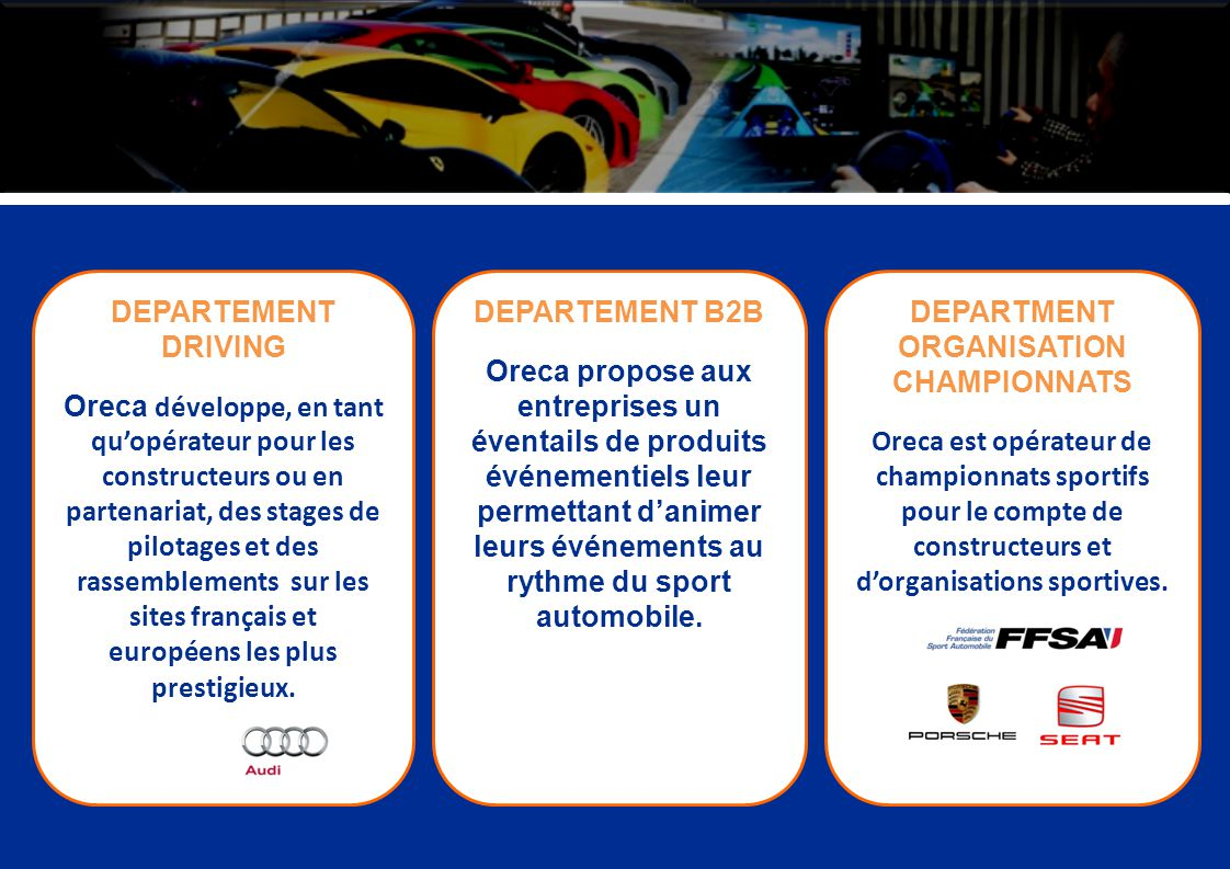 DEPARTMENT ORGANISATION CHAMPIONNATS Oreca est opérateur de championnats sportifs pour le compte de constructeurs et dorganisations sportives. DEPARTE
