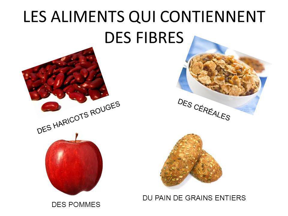 LES ALIMENTS QUI CONTIENNENT DES FIBRES DES HARICOTS ROUGES DES POMMES DES CÉRÉALES DU PAIN DE GRAINS ENTIERS