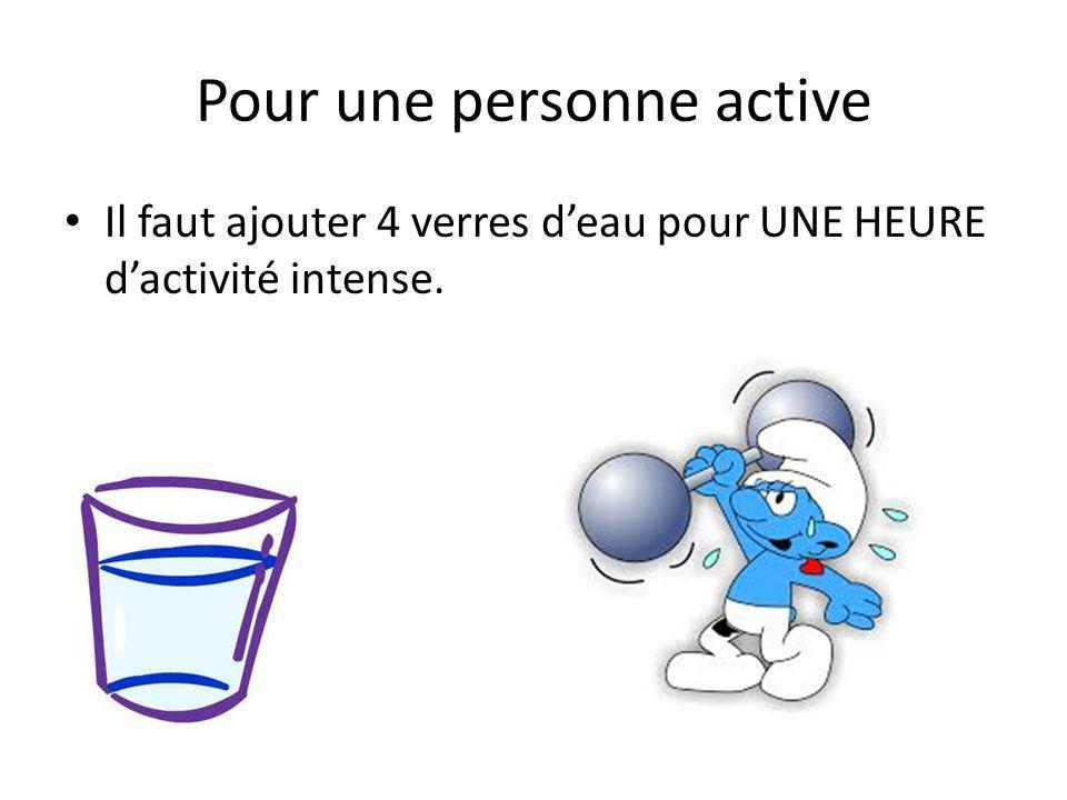 Pour une personne active Il faut ajouter 4 verres deau pour UNE HEURE dactivité intense.