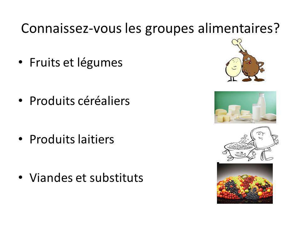 Connaissez-vous les groupes alimentaires? Fruits et légumes Produits céréaliers Produits laitiers Viandes et substituts