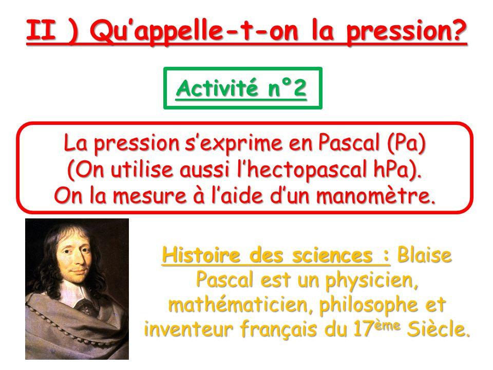 II ) Quappelle-t-on la pression? Activité n°2 La pression sexprime en Pascal (Pa) (On utilise aussi lhectopascal hPa). On la mesure à laide dun manomè