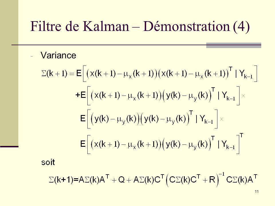 11 Filtre de Kalman – Démonstration (4) - Variance