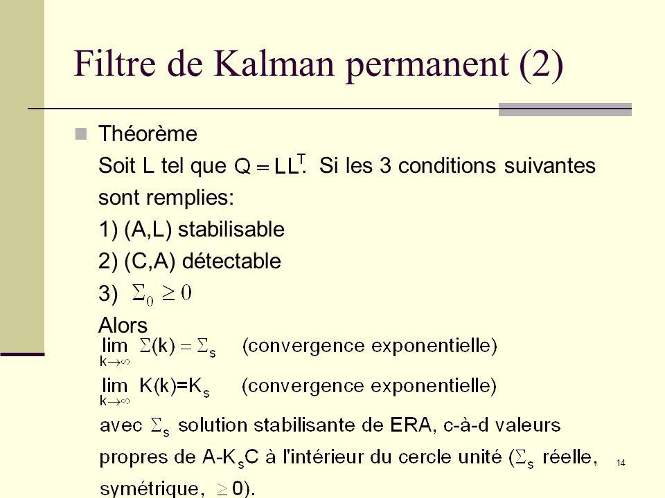 14 Filtre de Kalman permanent (2) Théorème Soit L tel que. Si les 3 conditions suivantes sont remplies: 1) (A,L) stabilisable 2) (C,A) détectable 3) A