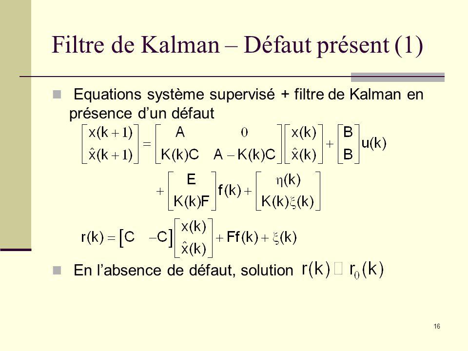 16 Filtre de Kalman – Défaut présent (1) Equations système supervisé + filtre de Kalman en présence dun défaut En labsence de défaut, solution