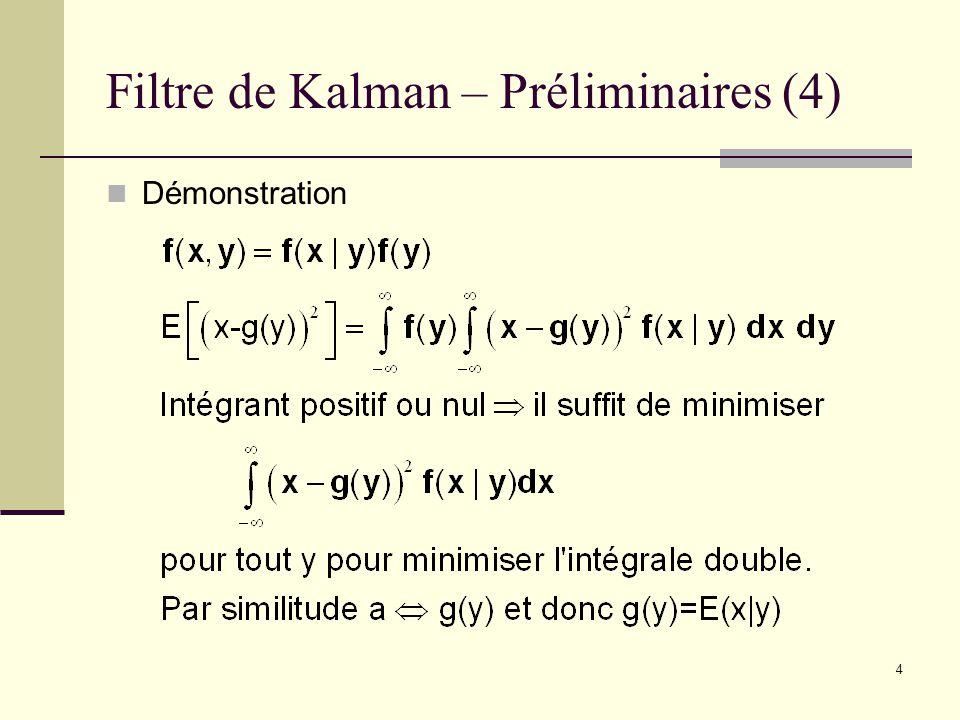 4 Filtre de Kalman – Préliminaires (4) Démonstration