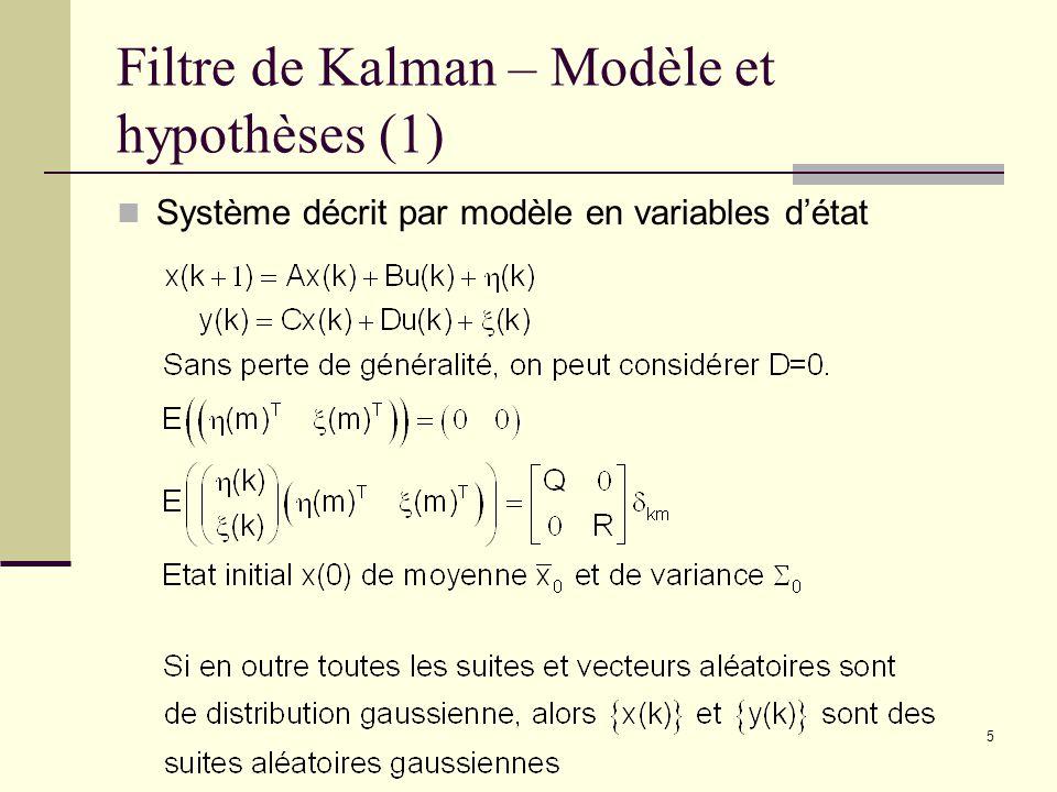 5 Filtre de Kalman – Modèle et hypothèses (1) Système décrit par modèle en variables détat