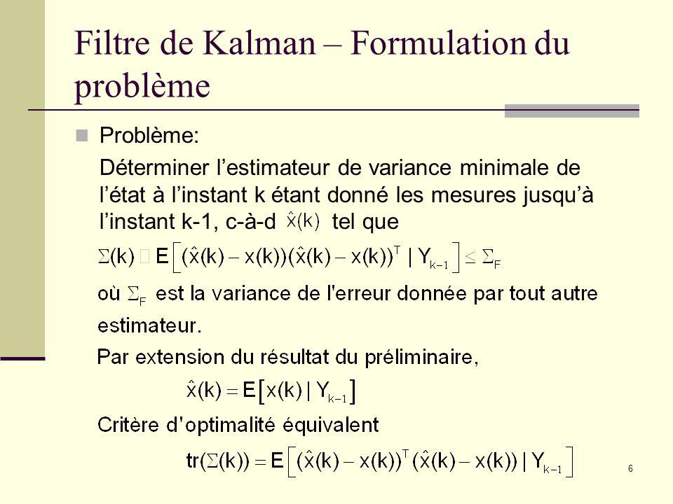 6 Filtre de Kalman – Formulation du problème Problème: Déterminer lestimateur de variance minimale de létat à linstant k étant donné les mesures jusqu
