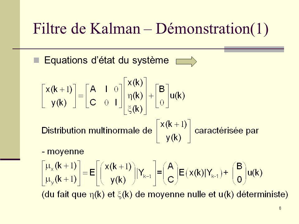 8 Filtre de Kalman – Démonstration(1) Equations détat du système