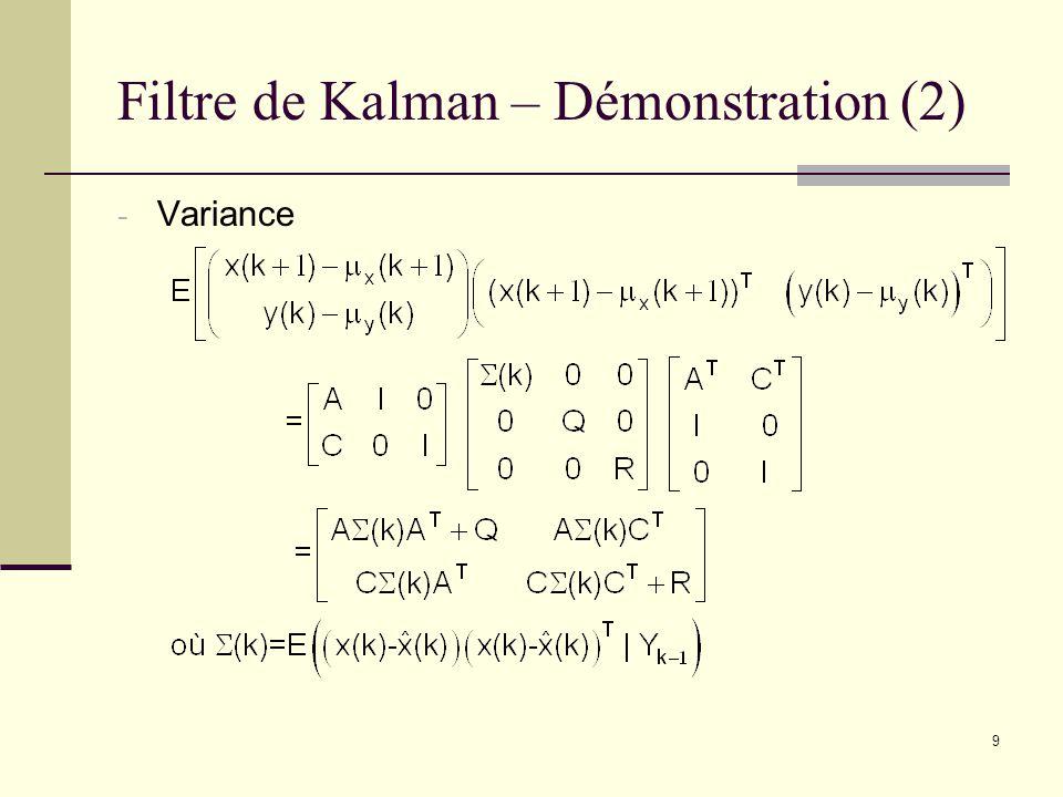 9 Filtre de Kalman – Démonstration (2) - Variance