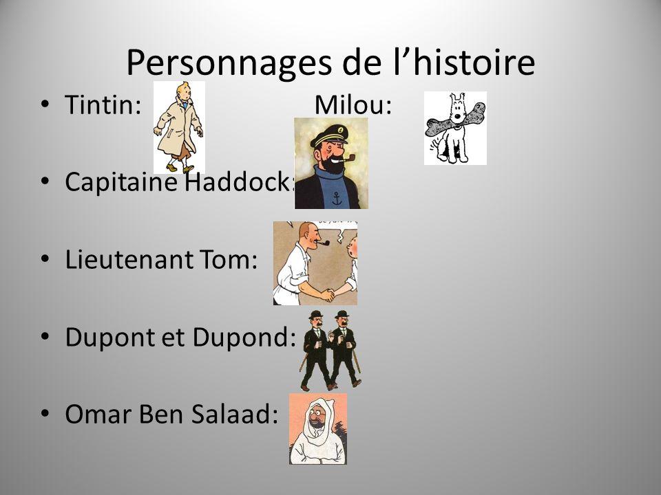 Personnages de lhistoire Tintin: Milou: Capitaine Haddock: Lieutenant Tom: Dupont et Dupond: Omar Ben Salaad: