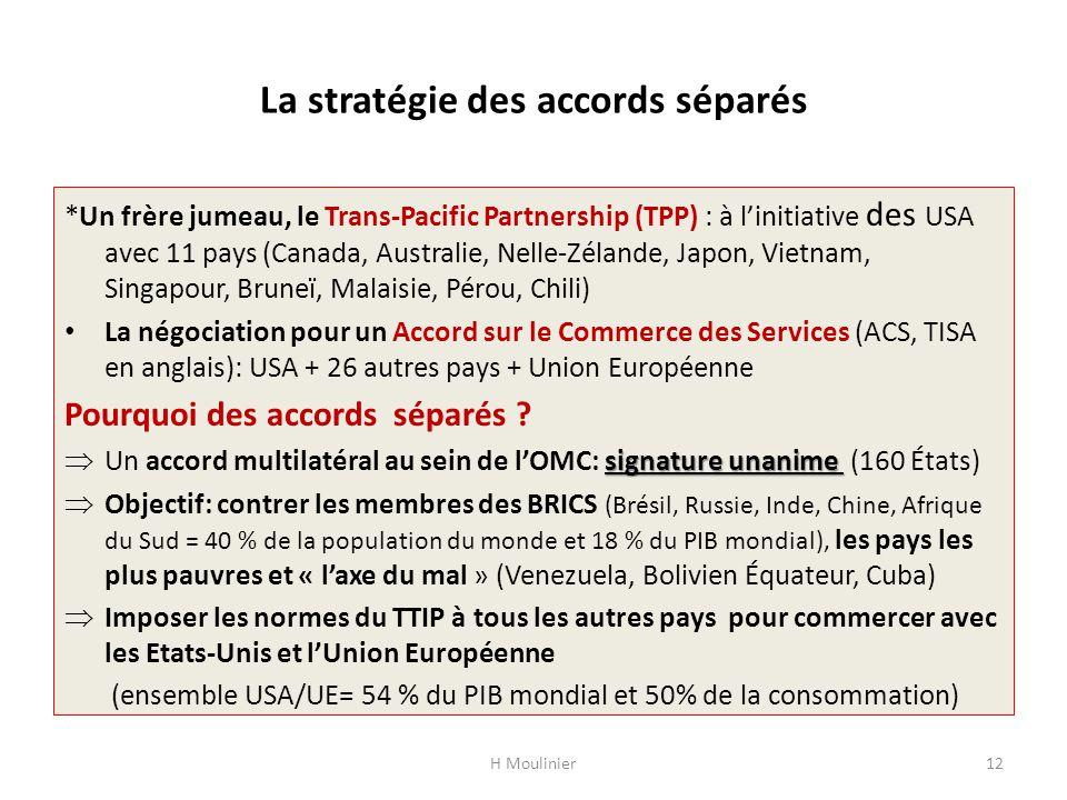 La stratégie des accords séparés *Un frère jumeau, le Trans-Pacific Partnership (TPP) : à linitiative des USA avec 11 pays (Canada, Australie, Nelle-Z