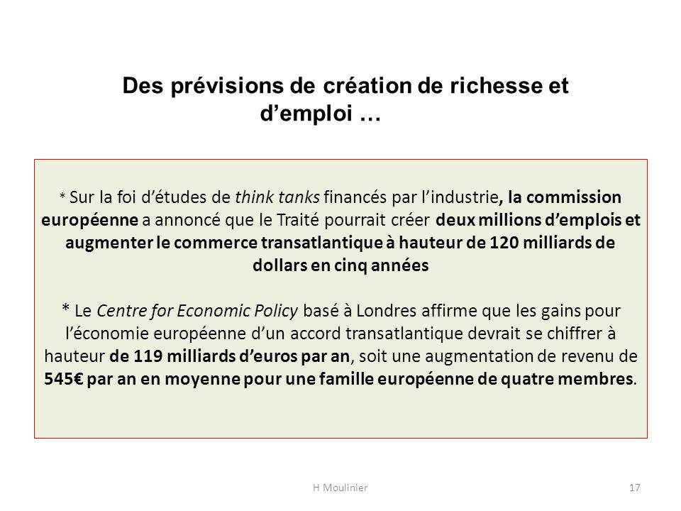 * Sur la foi détudes de think tanks financés par lindustrie, la commission européenne a annoncé que le Traité pourrait créer deux millions demplois et