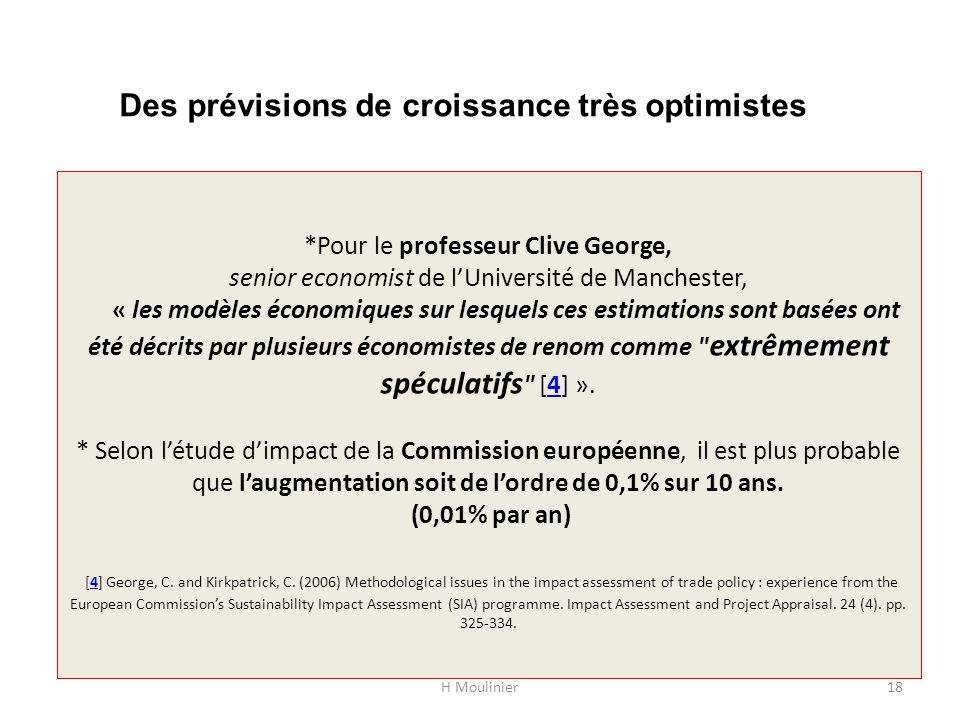 *Pour le professeur Clive George, senior economist de lUniversité de Manchester, « les modèles économiques sur lesquels ces estimations sont basées on