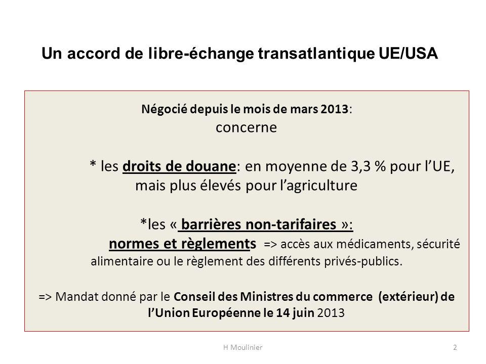 Négocié depuis le mois de mars 2013: concerne * les droits de douane: en moyenne de 3,3 % pour lUE, mais plus élevés pour lagriculture *les « barrière