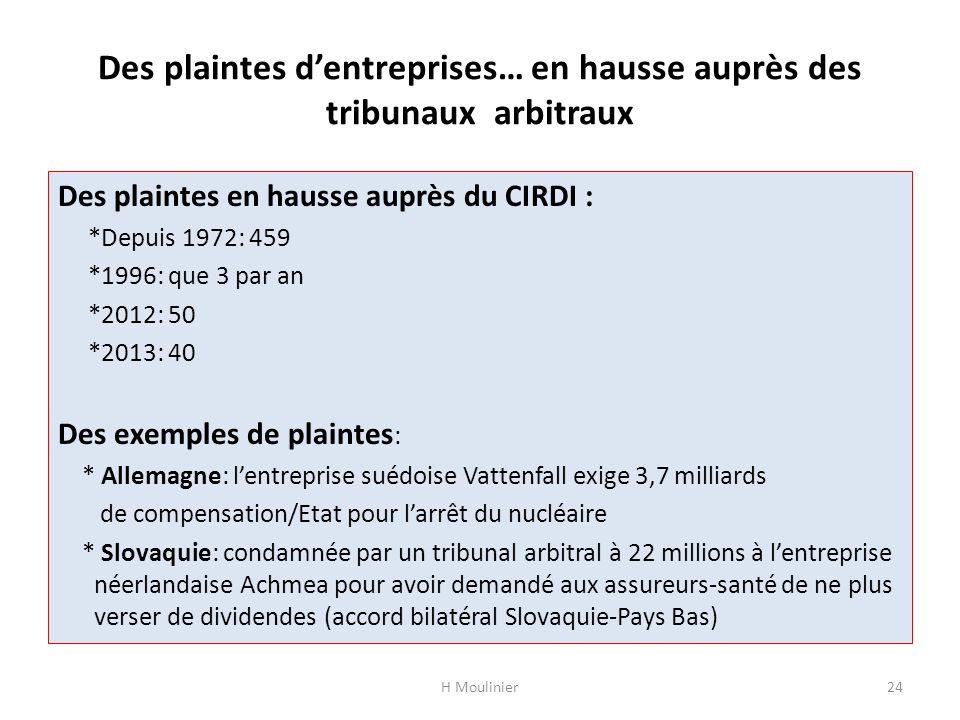 Des plaintes dentreprises… en hausse auprès des tribunaux arbitraux Des plaintes en hausse auprès du CIRDI : *Depuis 1972: 459 *1996: que 3 par an *20