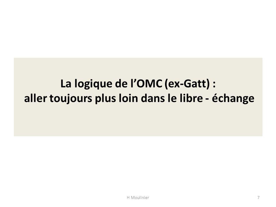 La logique de lOMC (ex-Gatt) : aller toujours plus loin dans le libre - échange H Moulinier7