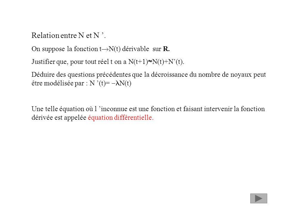 Relation entre N et N.On suppose la fonction t N(t) dérivable sur R.