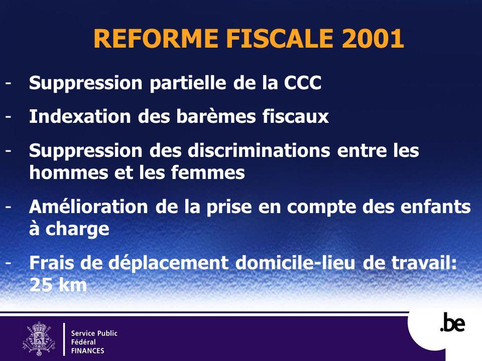 REFORME FISCALE 2001 -Suppression partielle de la CCC -Indexation des barèmes fiscaux -Suppression des discriminations entre les hommes et les femmes