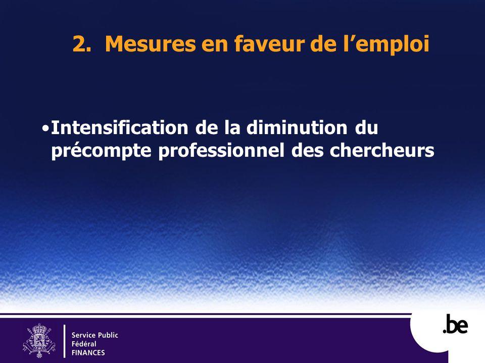 2. Mesures en faveur de lemploi Intensification de la diminution du précompte professionnel des chercheurs