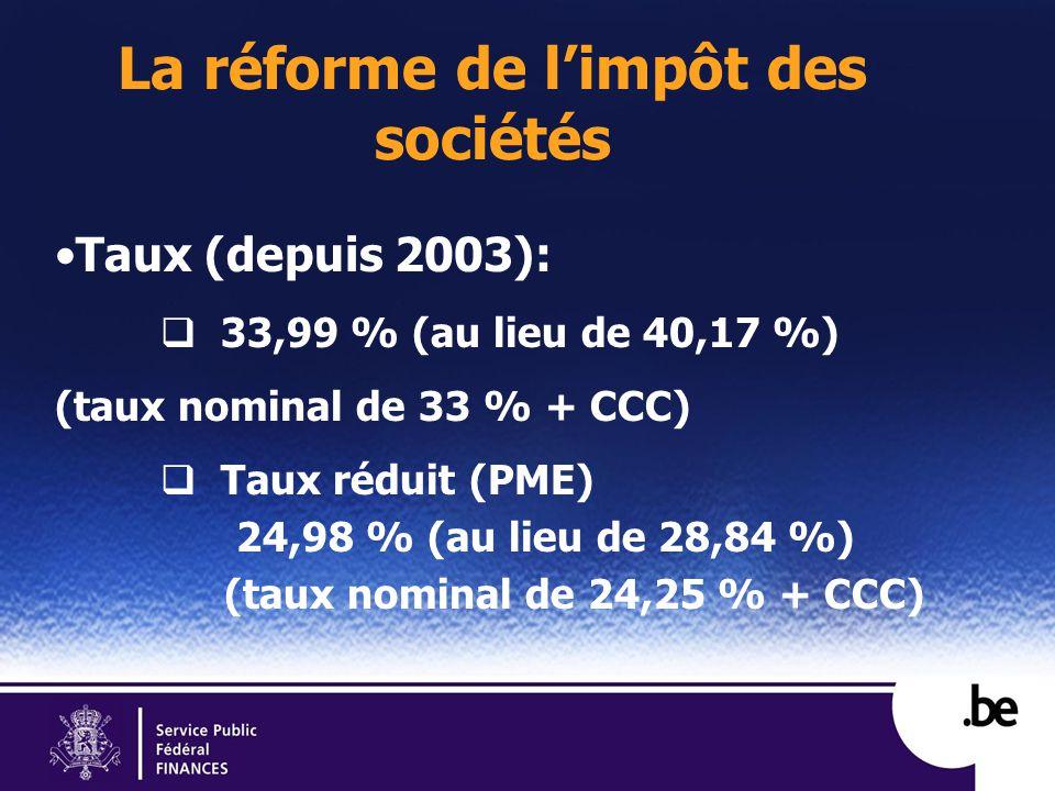La réforme de limpôt des sociétés Taux (depuis 2003): 33,99 % (au lieu de 40,17 %) (taux nominal de 33 % + CCC) Taux réduit (PME) 24,98 % (au lieu de 28,84 %) (taux nominal de 24,25 % + CCC)