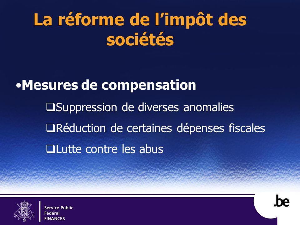 La réforme de limpôt des sociétés Mesures de compensation Suppression de diverses anomalies Réduction de certaines dépenses fiscales Lutte contre les abus