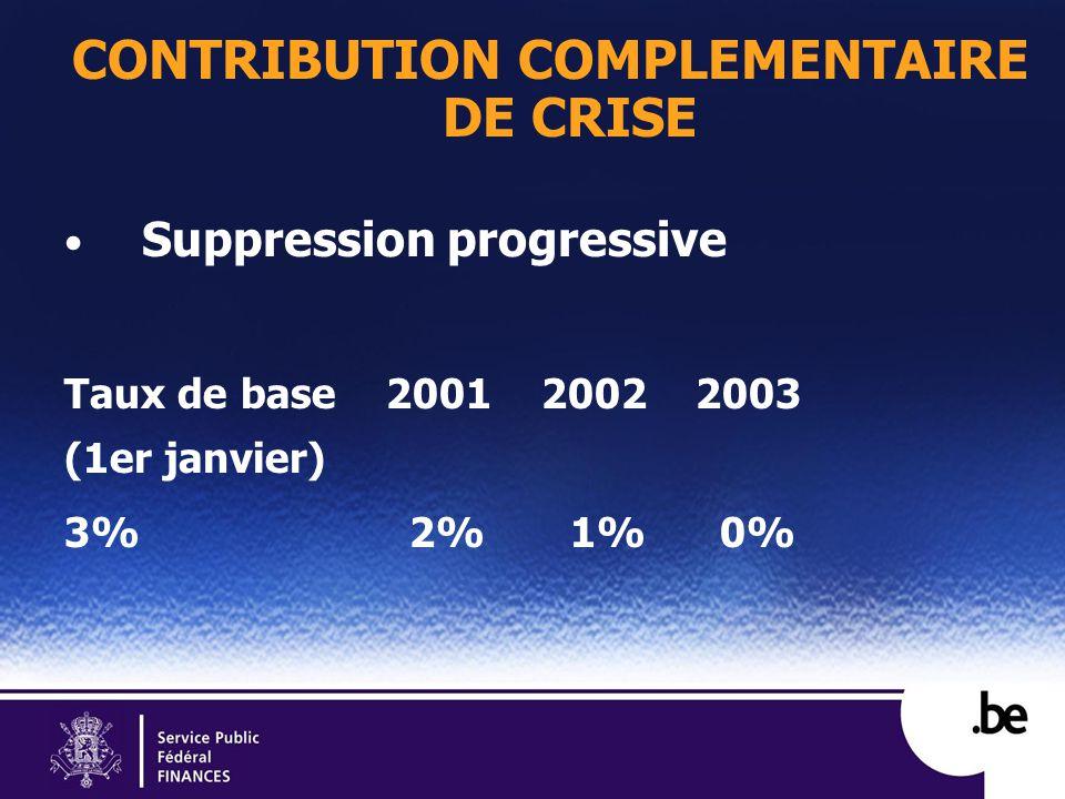 CONTRIBUTION COMPLEMENTAIRE DE CRISE Suppression progressive Taux de base 2001 2002 2003 (1er janvier) 3% 2% 1% 0%
