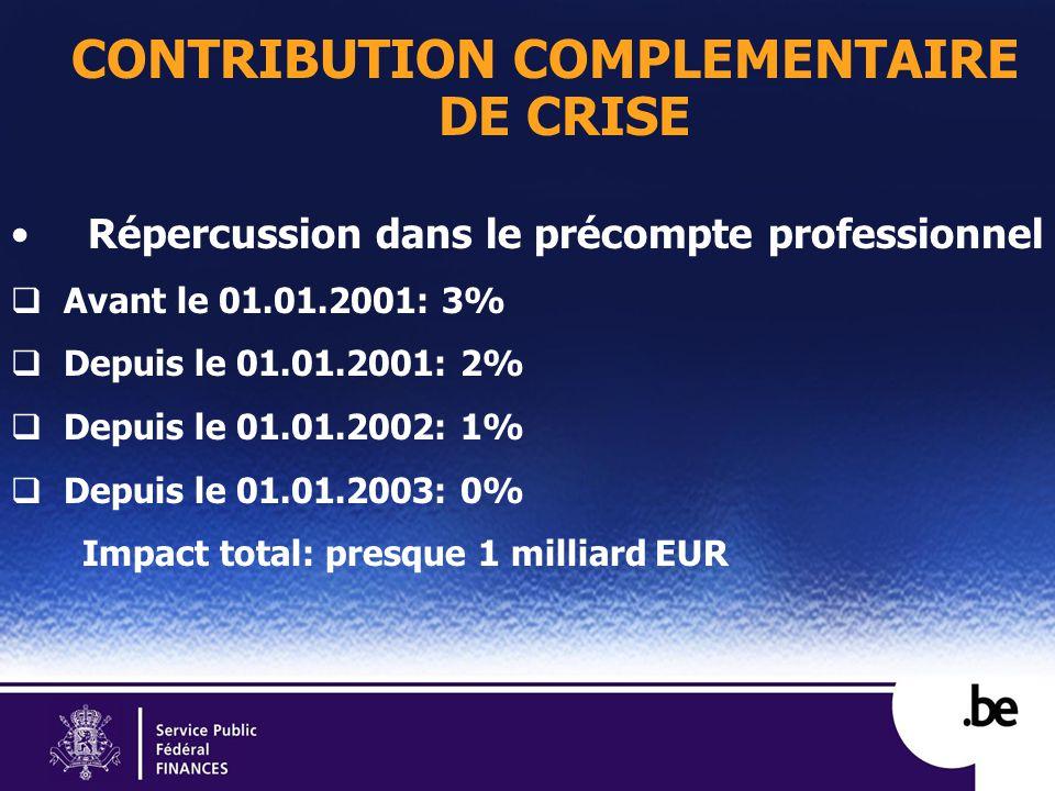 CONTRIBUTION COMPLEMENTAIRE DE CRISE Répercussion dans le précompte professionnel Avant le 01.01.2001: 3% Depuis le 01.01.2001: 2% Depuis le 01.01.2002: 1% Depuis le 01.01.2003: 0% Impact total: presque 1 milliard EUR