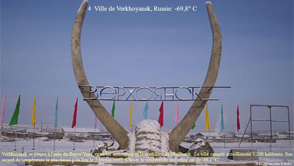 3 Base d'Amundsen-Scott, États-Unis, Pôle Sud: -82° C La base d'Amundsen-Scott est une station américaine située au centre du Pôle Sud. Elle est habit