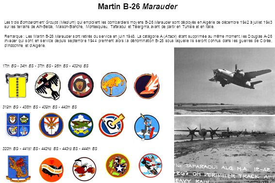 17th BG - 34th BS - 37th BS - 95th BS - 432nd BS 319th BG - 438th BS - 439th BS - 440th BS 320th BG - 441st BS - 442nd BS - 443rd BS - 444th BS Martin
