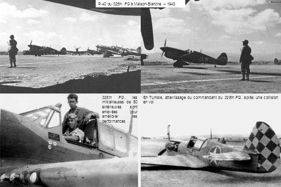 En Tunisie, atterrissage du commandant du 325th FG, après une collision en vol 325th FG, les mitrailleuses de 50 extérieures sont enlevées pour amélio