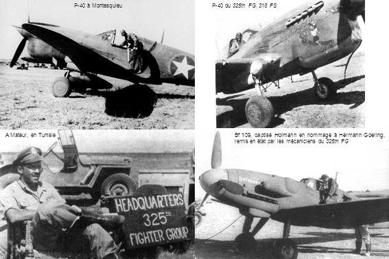 P-40 à MontesquieuP-40 du 325th FG, 318 FS A Mateur, en TunisieBf 109, baptisé Hoimann en hommage à Hermann Goering, remis en état par les mécaniciens