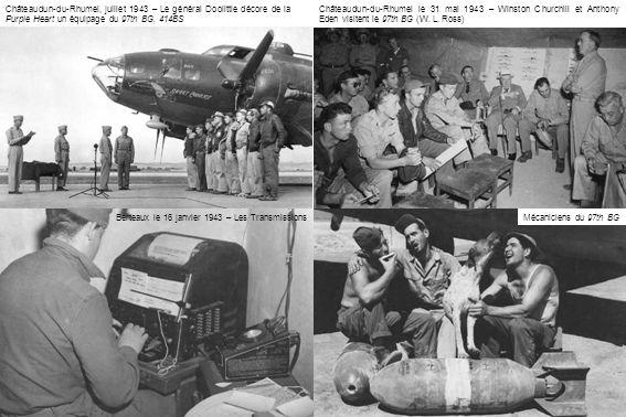 Berteaux, le 9 mars 1943 – Les membres du 310th BG, 428th BS reçoivent le Purple Heart Des vétérans du raid sur Tokio du 18 avril 1942 : Capitaine Found, majors Hoover et Wilder et capitaine Sessler Berteaux, le 7 mars 1943 – QG du 310th BG dans lécole dagriculture, à proximité immédiate de laérodrome contruit sur les terres de lécole