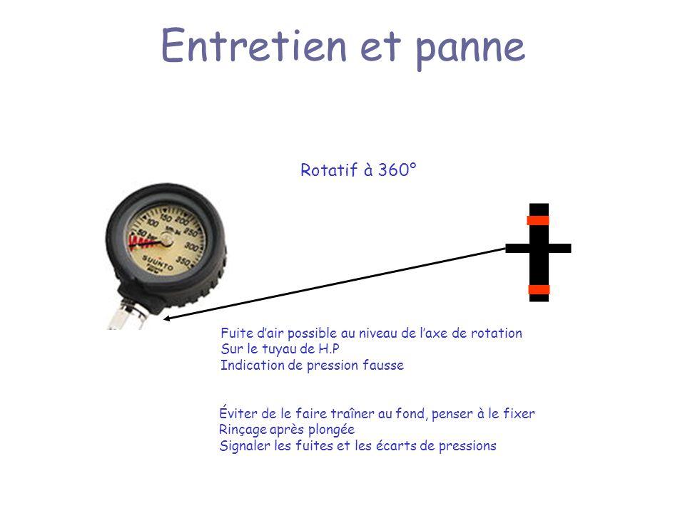 Entretien et panne Rotatif à 360° Fuite dair possible au niveau de laxe de rotation Sur le tuyau de H.P Indication de pression fausse Éviter de le faire traîner au fond, penser à le fixer Rinçage après plongée Signaler les fuites et les écarts de pressions