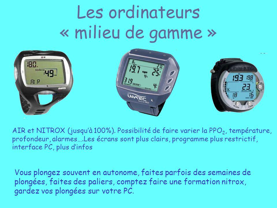 Les ordinateurs « milieu de gamme » AIR et NITROX (jusquà 100%). Possibilité de faire varier la PPO 2, température, profondeur, alarmes….Les écrans so