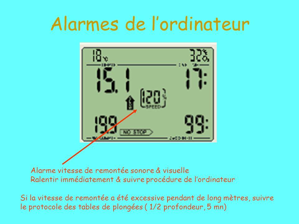 Alarmes de lordinateur Alarme vitesse de remontée sonore & visuelle Ralentir immédiatement & suivre procédure de lordinateur Si la vitesse de remontée a été excessive pendant de long mètres, suivre le protocole des tables de plongées ( 1/2 profondeur, 5 mn)