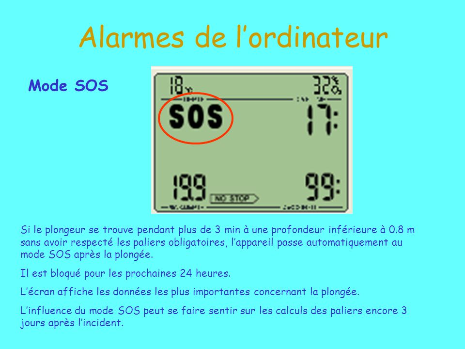 Alarmes de lordinateur Mode SOS Si le plongeur se trouve pendant plus de 3 min à une profondeur inférieure à 0.8 m sans avoir respecté les paliers obligatoires, lappareil passe automatiquement au mode SOS après la plongée.