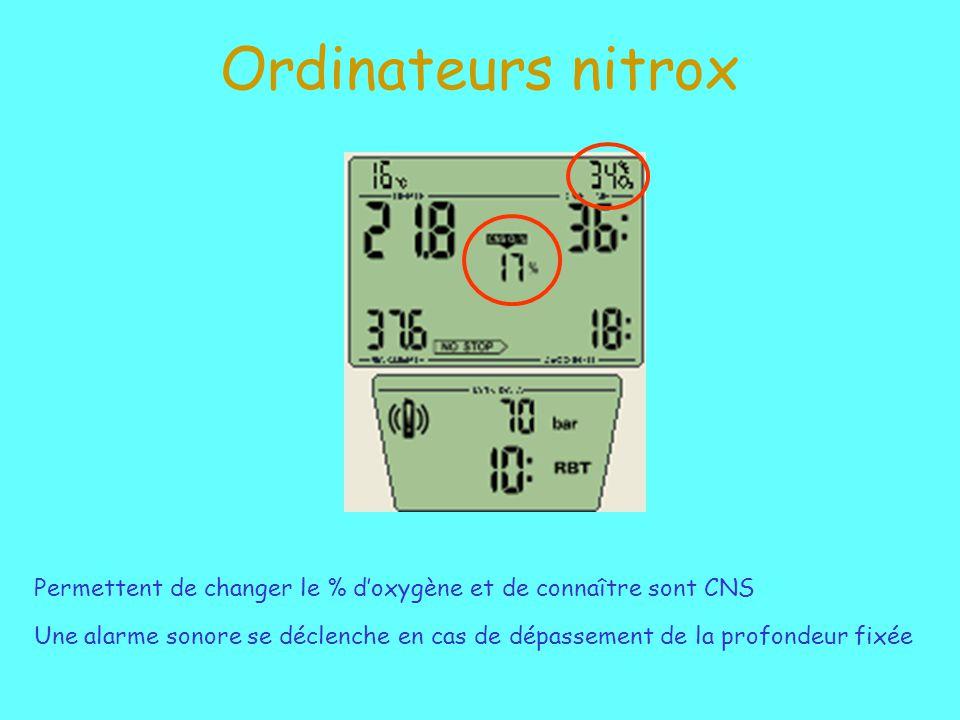 Ordinateurs nitrox Permettent de changer le % doxygène et de connaître sont CNS Une alarme sonore se déclenche en cas de dépassement de la profondeur fixée