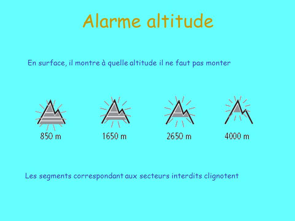 Alarme altitude En surface, il montre à quelle altitude il ne faut pas monter Les segments correspondant aux secteurs interdits clignotent